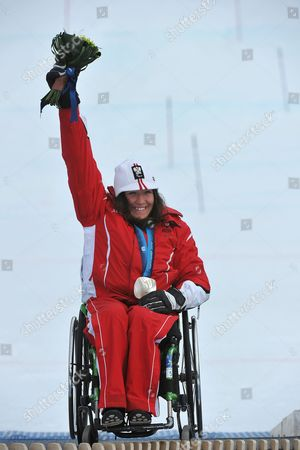 Austria's Claudia Loesch Celebrates Her Silver Medal in the Women's Super Combined Sitting Competition at the Vancouver 2010 Paralympic Games in Whistler Canada 21 March 2010 Canada Whistler