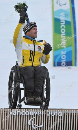 Germany's Martin Braxenthaler Celebrates His Gold Medal in the Men's Super Combined Sitting Competition at the Vancouver 2010 Paralympic Games in Whistler Canada 21 March 2010 Canada Whistler