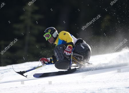 Germany's Martin Braxenthaler in Action During the Super G Portion of the Men's Super Combined Sitting Competition at the Vancouver 2010 Paralympic Games 20 March 2010 Canada Whistler