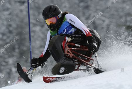 Claudia Loesch of Austria in Action During the First Run of the Women's Slalom-sitting Competition at the Vancouver 2010 Paralympic Games 14 March 2010 Canada Whistler
