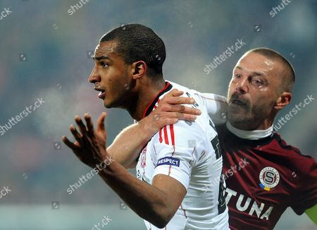 David Ngog (l) of Liverpool Fc and Tomas Repka of Sparta Prague React During Their Uefa Europa League Round of 32 Soccer Match in Prague Czech Republic 17 February 2011 the Match Ended 0-0 Czech Republic Prague
