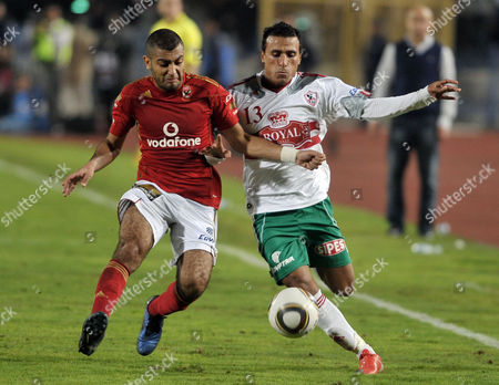 Egypt's Al-zamalek Player Mohamed Abdel-shafy (r) Fights For the Ball with Al-ahly Player Shehab El-din Ahmed (r) During Their Egyptian Tournament Soccer Match in Cairo Egypt 30 December 2010 Egypt Cairo