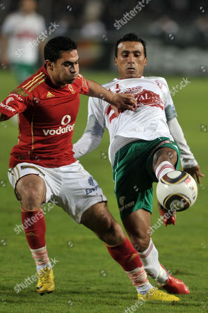 Egypt's Al-zamalek Player Mohamed Abdel-shafy (r) Fights For the Ball with Al-ahly Player Ahmed Fathy (l) During Their Egyptian Tournament Soccer Match in Cairo Egypt 30 December 2010 Egypt Cairo