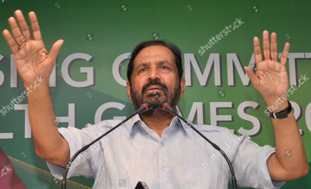 Stock Photo of Commonwealth Games Organising Committee Chairman Suresh Kalmadi Addresses a News Conference Following a Controversy in New Delhi 31 July 2010 Suresh Kalmadi Stated That He was Saddened by the Baseless Allegations of Corruption on Him and Also Denied Allegations of Illegal Money Transfer to a London-based Firm the Controversy Occured After the Deputy High Commissioner of India in London Rajesh N Prasad Wrote a Letter to the Sports Ministry of India About Allegations of Corruption Made by the British Government Which Said That 25 000 Pounds Sent From the Cwg in India to a Company Am Films in Britain was Unaccounted For India New Delhi