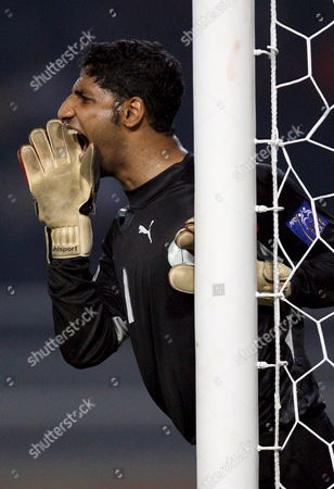 Saudi Arabia Goal Keeper Yasser Al Mosailem Shouts to His Team During Asian Cup 2007 Soccer Championship Quarter Final Match Against Uzbekistan at Bung Karno Stadium in Jakarta Indonesia 22 July 2007 Saudi Arabia Won 2-1