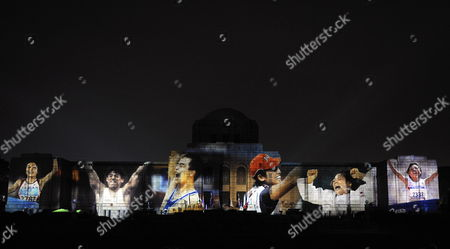 Images of Japanese Athletes Are Projected on the Facade of the Seitoku Memorial Exhibition Hall During an Event Produced by Japanese Designer Kansai Yamamoto and Held to Promote Tokyo's Candidacy For the 2016 Olympics in Tokyo Japan 11 September 2009 Tokyo Chicago Madrid and Rio De Janeiro Are the Final Candidates and the Decision on who Will Host the Games Will Be Made in 02 October 2009 Japan Tokyo