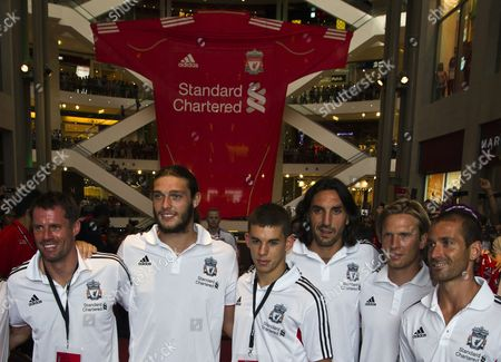 Liverpool Players (l-r) Jaime Carragher Andy Carroll John Flanagan Sotirios Kyrgiakos Christian Poulson and Raul Meireles Pose During Meeting with Fans During the Liverpool Asia Tour 2011 in Kuala Lumpur Malaysia 15 July 2011 Malaysia is Liverpool''s Second Stop of Their Asian Tour 2011 After China where They Beat Guangdong Sunray Cave 4-3 Malaysia Kuala Lumpur