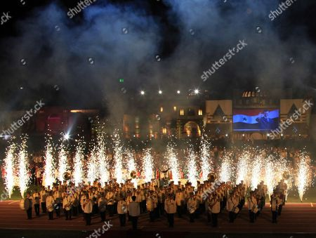 Colorful Pyrotechnic Displays Lights Up the Opening Ceremony of the Special Olympics 7th Mena Regional Games For Handicapped at the Tishrin Stadium in Damascus Syria on 25 September 2010 the Event is Held Under the Auspices of Asma Al-assad the Syrian First Lady and the Honorary Chairwoman of the Special Olympics in Syria Some 1 600 Athletes From 23 Middle East and North African (mena) Countries Will Compete in 15 Different Disciplines Syrian Arab Republic Damascus