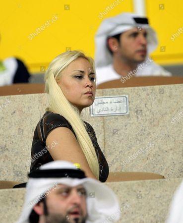Veronica Ojeda Girl Firend of Argentinian Diego Maradona is Seen As Maradona is Watching the Match Between Emirati Soccer Clubs Al-wasl and Al-sharjah at Al-wasl Stadium in Gulf Emirate of Dubai United Arab Emirates on 05 June 2011 Maradona Signed a Two-year Contract to Coach Emirati Club of Al-wasl Based in Dubai United Arab Emirates Dubai