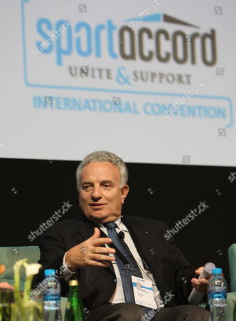 International Tennis Federation President Francesco Ricci Bitti Talks During 'The Autonomy of Sport' Session at Sportaccord International Convention in Dubai United Arab Emirates 29 April 2010 Sportaccord International Convention is a Five-day Gathering of 1500 Leading Representatives From International Sport the Annual Convention is Held in a Different Country Each Year and Encompasses the Congress and General Assemblies of Over 100 International Sports Federations and Their Related Associations United Arab Emirates Dubai