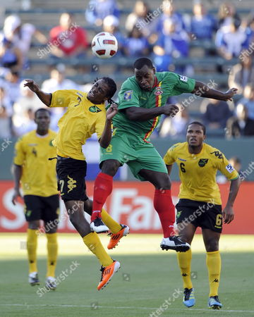 Jason Morrison of Jamaica (l) and Delroy Facey of Grenada (r) Vie For the Ball During Their Gold Cup Soccer Match in Los Angeles California Usa 06 June 2011 the 12-team Tournament Runs Through 25 June when the Final Will Be Played at the Rose Bowl in Pasadena California United States Los Angeles
