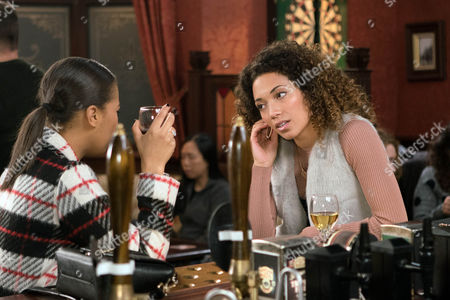 As a disappointed Peggy, as played by Shanice Stewart-Jones, explains to Steph Britton, as played by Tisha Merry, that Robert's in love with another woman (Ep 9073 - Fri 6th January 2017)