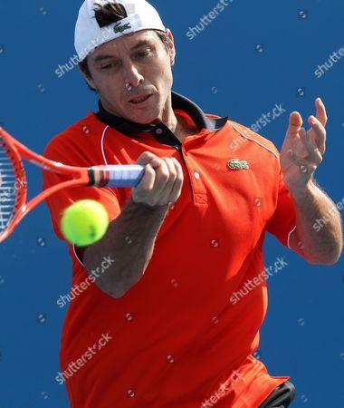 Sebastien Grosjean of France Returns a Shot Against Marsel Ilhan of Turkey During Their First Round Match at the Australian Open Tennis Tournament in Melbourne Australia 18 January 2010 Australia Melbourne