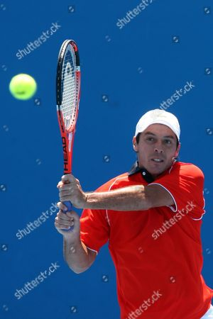 Sebastien Grosjean of France Hits a Shot Against Marsel Ilhan of Turkey During Their First Round Match at the Australian Open Tennis Tournament in Melbourne Australia on 19 January 2010 Australia Melbourne