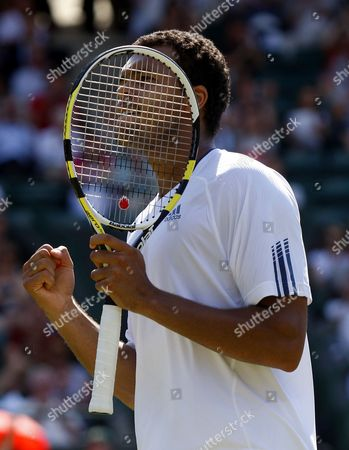 Jo-wilfried Tsonga of France Celebrates His Victory Over Robert Kendrick of the Us in Their First Round Match For the Wimbledon Championships at the All England Lawn Tennis Club in London Britain 22 June 2010 United Kingdom Wimbledon