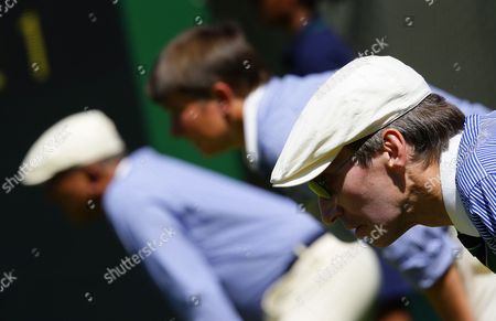 Line Judges Observe the Action Between Robert Kendrick of the Us and Jo-wilfried Tsonga of France During Their First Round Match For the Wimbledon Championships at the All England Lawn Tennis Club in London Britain 22 June 2010 United Kingdom Wimbledon