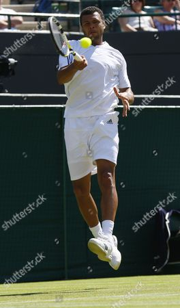 Jo-wilfried Tsonga of France Returns to Robert Kendrick of the Us During Their First Round Match For the Wimbledon Championships at the All England Lawn Tennis Club in London Britain 22 June 2010 United Kingdom Wimbledon