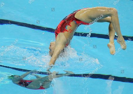 Stock Picture of Mary Killman and Megan Wallace of the Usa Compete in the Duet Free Finals Synchronised Swimming Event at the 2011 Fina World Swimming Championships in Shanghai China on 22 July 2011 China Shanghai