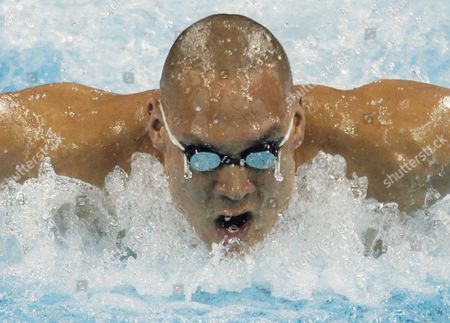 Stock Photo of Australia's Geoff Huegill Competes in the Men's 100m Butterfly Heat at the 2011 Fina World Swimming Championships Shanghai China 29 July 2011 China Shanghai
