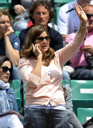 Mirka Vavrinec Wife of Swiss Player Roger Federer on Court Philippe Chatrier to Watch Her Husband Take on Alejandro Falla of Colombia in Their Second Round Match For the French Open Tennis Tournament at Roland Garros in Paris France 26 May 2010 France Paris