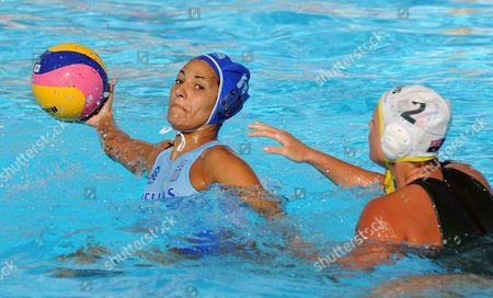 Stavroula Antonakou (l) of Greece in Action Against Holly Lincoln-smith (r) of Australia During Their Quarterfinal Women Water Polo Match at the 13th Fina World Championship at Foro Italico Swimming Complex in Rome Italy on 27 July 2009 Italy Rome