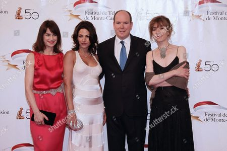 Stock Picture of French Actresses Valerie Kaprisky (l) Noemie Elbaz (2-l) and Virginie Lemoine (r) Pose For a Photograph with Prince Albert Ii of Monaco (c) As They Arrive to Attend the Opening Night of the 2010 Monte Carlo Television Festival Held at Grimaldi Forum in Monaco 06 June 2010 the 50th Monte-carlo Television Festival Takes Place at the Grimaldi Forum From 06 to 10 June 2010 Monaco Monaco