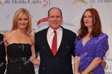 French Tv Presenter Sandrine Corman (l) Prince Albert Ii of Monaco (c) and French Actress Audrey Fleurot Pose For Photographs at the Opening Night of the 2011 Monte Carlo Television Festival Held at Grimaldi Forum in Monaco 06 June 2011 the 51st Monte-carlo Television Festival Takes Place at the Grimaldi Forum From 06 to 10 June 2011 Monaco Monaco