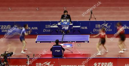 South Korean (r) Kim Kyung-ah and Park Mi-young Play Against Hong Kong (l) Opponent Jiang Huajun and Tie Yana During a Women's Double Final Table Tennis Match at the Olympic Gymnastic Stadium in Seoul South Korea 19 December 2010 Kim Kyung-ah and Park Mi-young Won the Match Korea, Republic of Seoul