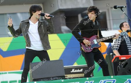 Members of the Band Allstar Weekend Zach Porter (l) and Cameron Quiseng (r) Perform During Arthur Ashe Kids Day at the Usta Billie Jean King National Tennis Center in Flushing Meadows New York Usa on 28 August 2010 United States Flushing Meadows