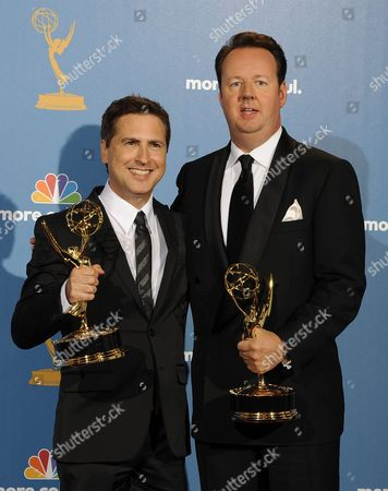 Writers Paul Greenberg (l) and Dave Boone (r) Hold Their Outstanding Writing For a Variety Musical Or Comedy Special Award For the 63rd Annual Tony Awards As They Pose For Photographers in the Press Room During the 62nd Annual Primetime Emmy Awards Held at the Nokia Theatre in Los Angeles California Usa 29 August 2010 the Primetime Emmy Awards Honor Excellence in Us Primetime Television Programming United States Los Angeles