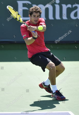 Thiago Alves of Brazil Follows Through with a Backhand Against Vincent Spadea of the Usa at the Bnp Paribas Open Tennis in Indian Wells California Usa 09 March 2010 United States Indian Wells