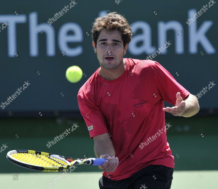 Thiago Alves of Brazil Makes a Drop Shot Volley Against Vincent Spadea of the Usa at the Bnp Paribas Open Tennis in Indian Wells California Usa 09 March 2010 United States Indian Wells