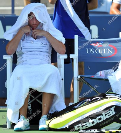 Aravane Rezai of France Tries to Keep Cool During a Changeover As She Plays Beatrice Capra of the Us During Their Second Round Match at the 2010 Us Open Tennis Championship at the Usta National Tennis Center in Flushing Meadows New York Usa 02 September 2010 the Us Open Championship Runs Through 12 September when the Men's Final is Scheduled to Be Played United States Flushing Meadows