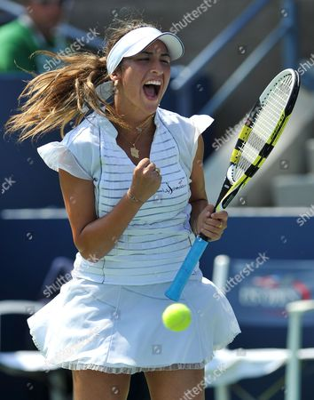 Aravane Rezai of France Reacts As She Plays Beatrice Capra of the Us During Their Second Round Match at the 2010 Us Open Tennis Championship at the Usta National Tennis Center in Flushing Meadows New York Usa 02 September 2010 the Us Open Championship Runs Through 12 September when the Men's Final is Scheduled to Be Played United States Flushing Meadows