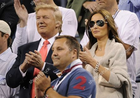 Donald Trump (l) and His Wife Melania Knauss (r) Applaud After Caroline Wozniacki of Denmark Defeated Dominika Cibulkova of Slovakia During Their Quarterfinal Match at the 2010 Us Open Tennis Championship at the Usta National Tennis Center in Flushing Meadows New York Usa on 08 September 2010 the Us Open Championship Runs Through 12 September when the Men's Final is Scheduled to Be Played United States Flushing Meadows
