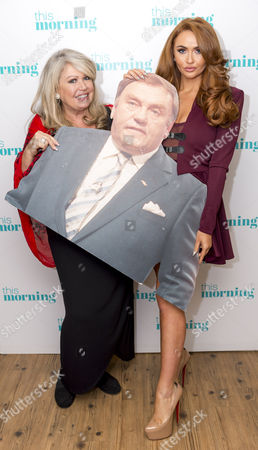Stock Photo of Tracy Dawson and Charlotte Dawson with Les Dawson cardboard cut-out