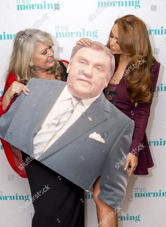 Tracy Dawson and Charlotte Dawson with Les Dawson cardboard cut-out