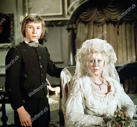 'Great Expectations' TV Film - 1974 - the Young Pip (Simon-Gripps-Kent) with Miss Haversham (Margaret Leighton)