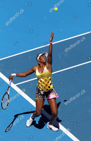 Venus Williams of the United States Serves the Ball to Sandra Zahlavova of the Czech Republic During Their Women's Singles Second Round Match at the Australian Open Tennis Tournament in Melbourne Australia on 19 January 2011 Australia Melbourne