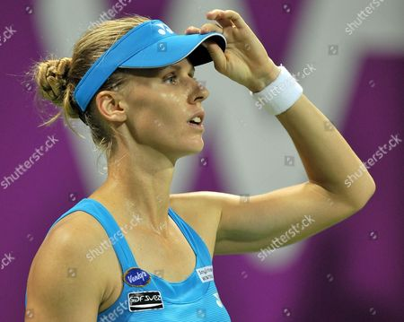 Elena Dementieva of Russia Reacts During the Match Agains Francesca Schiavone of Italy During Their Match on the Fourth Day of the Wta Sony Ericsson Championships at the International Khalifa Tennis Complex Doha Qatar on 29 October 2010 Qatar Doha