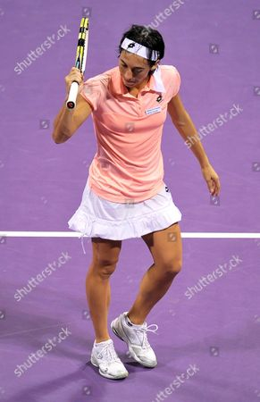 Francesca Schiavone of Italy Returns a Shot Against Elena Dementieva of Russia During Their Match on the Fourth Day of the Wta Sony Ericsson Championships at the International Khalifa Tennis Complex Doha Qatar on 29 October 2010 Qatar Doha