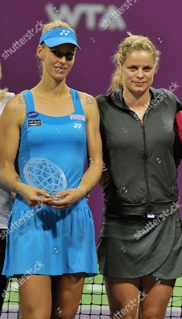 Russian Tennis Player Elena Dementieva (l) Poses with Kim Clijsters of Belgium (r) After Announcing Her Retirement Following Her Wta Championships Match Against Italy's Francesca Schiavone During Day Four of the Wta Championships at the Khalifa Tennis Complex Doha Qatar on 29 October 2010 Qatar Doha