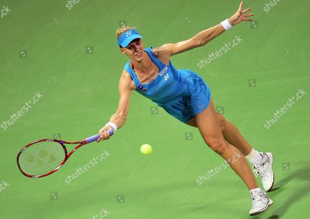 Elena Dementieva of Russia Returns a Shot Against Francesca Schiavone of Italy During Their Match on the Fourth Day of the Wta Sony Ericsson Championships at the International Khalifa Tennis Complex Doha Qatar on 29 October 2010 Qatar Doha