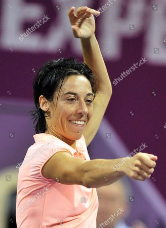 Francesca Schiavone of Italy Celebrates After Defeating Elena Dementieva of Russia During Their Match on the Fourth Day of the Wta Sony Ericsson Championships at the International Khalifa Tennis Complex Doha Qatar on 29 October 2010 Qatar Doha