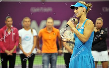 Elena Dementieva of Russia Announces Her Retirement to the Wta Players During Day Four of the Wta Championships at the Khalifa Tennis Complex Doha Qatar on 29 October 2010 Qatar Doha