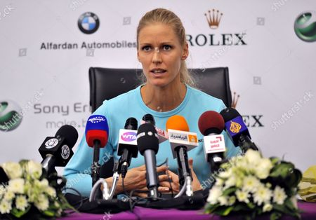 Stock Photo of Elena Dementieva of Russia Speaks at a Press Conference After Announcing Her Retirement After Her Match Against Francesca Schiavone of Italy During Day Four of the Wta Championships at the Khalifa Tennis Complex Doha Qatar on 29 October 2010 Qatar Doha