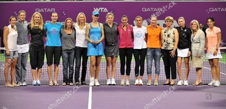 Russian Tennis Player Elena Dementieva (7th-l) Poses with Other Top Tennis Players After Announcing Her Retirement Following Her Wta Championships Match Against Italy's Francesca Schiavone During Day Four of the Wta Championships at the Khalifa Tennis Complex Doha Qatar on 29 October 2010 Qatar Doha