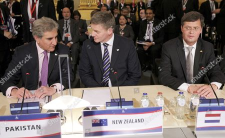 (l-r) Makhdoom Shah Mahmood Qureshi Minister For Foreign Affairs of Pakistan New Zeland Vice Prime Minister Bill English and Dutch Prime Minister Jan Peter Balkenende at the Start of an Asem European Summit in Brussels Belgium 04 Ocotber 2010 European Union and Asian Leaders Descended on Brussels on 04 October 2010 For a Two-day Summit with Economic Issues and the Fight Against Piracy Key Areas For Debate the Biennial Asia-europe Meeting (asem) Brings Together the Leaders of 27 Eu Member States and 19 Asian Powers Representing More Than Half the Worlds Population and Wealth But the Group Also Suffers From Differences Over Issues Such As Democracy and North Koreas Nuclear Programmes Limiting the Scope For Agreement Belgium Brussels