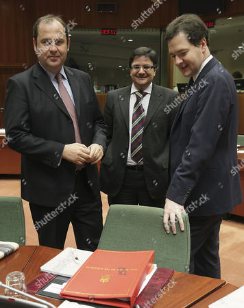 (l-r) Austrian Finance Minister Josef Proell Malta's Finance Minister Tonio Fenech and British Chancellor of the Exchequer George Osborne at the Start of an Extraordinary European Euro Group Finance Ministers on the Ireland Situation at the European Council Headquaters in Brussels Belgium 07 December 2010 Belgium Brussels