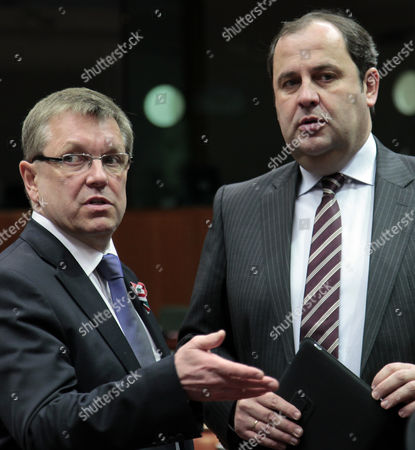 Hungarian Finance Minister Gyorgy Matolcsy (l) and Austrian Finance Minister Josef Proell Prior to a European Finance Ministers Meeting at the European Union Headquarters in Brussels Belgium 15 March 2010 Belgium Brussels